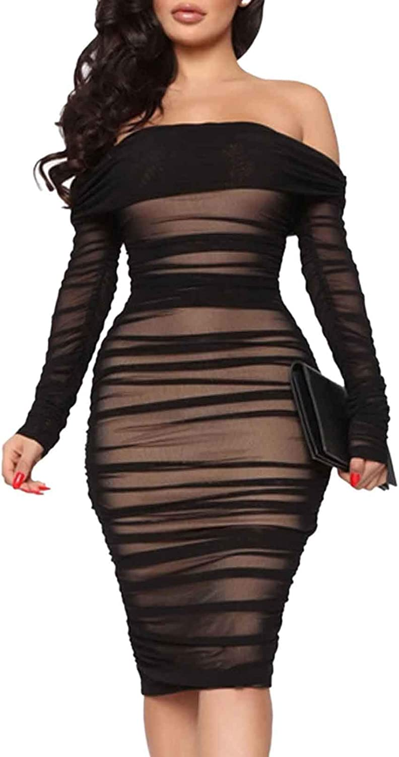 Pink Wind Women's Sexy Off Shoulder Long Sleeve Bodycon Midi Dress Shirred Ruched Sheath Dresses