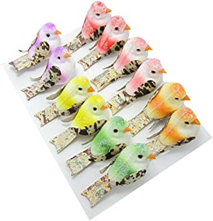 12Pcs Artificial Colorful Shining Mini Birds Kids Floral Craft Photograph Home Garden Party Wedding DIY Festival Decoration Gift