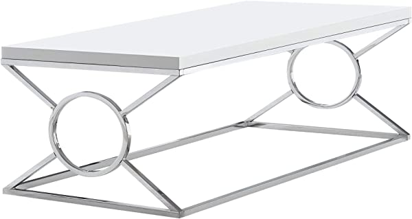 Monarch Specialties Coffee Table Rectangular Glossy White Chrome
