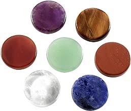Top Plaza 7 Chakra Tumbled Gemstones Natural Reiki Healing Crystal Balancing Round Palm Worry Stones Kit Set(17.5MM)