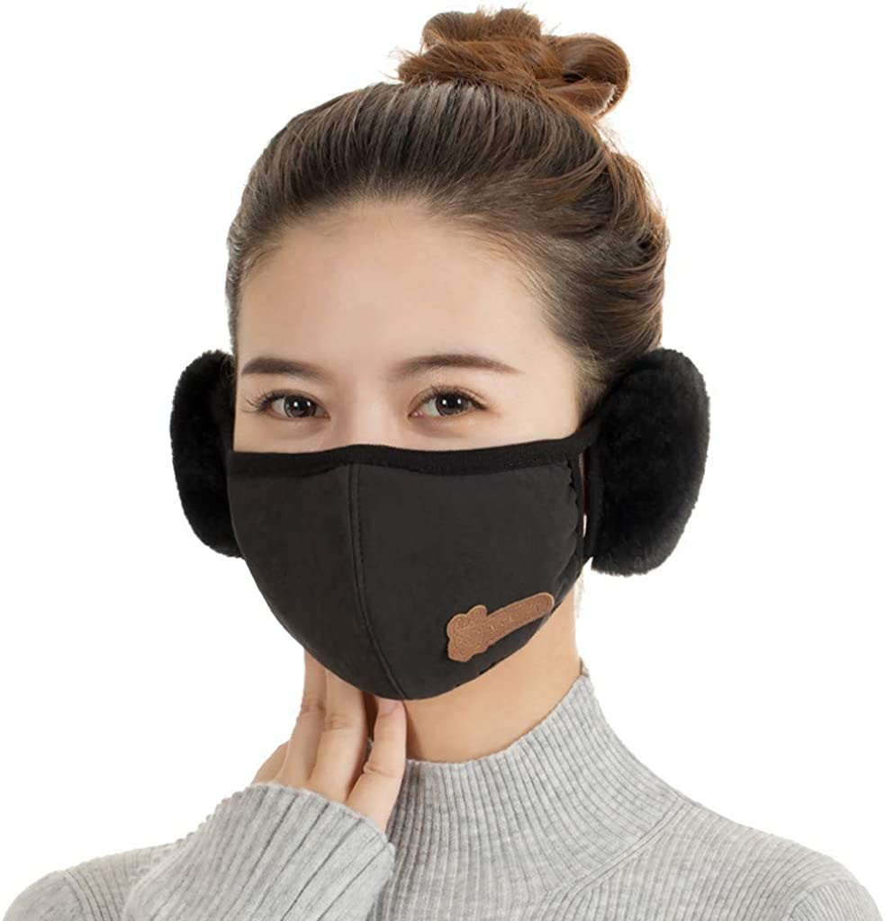 Nopeak Winter Warm Face Bandanas With Earmuffs for Adult,Women Windproof Mouth Caps,Washable Anti-Haze Scarfs