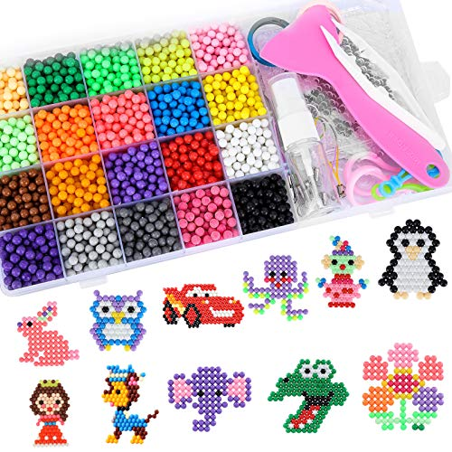 HAUSPROFI Water Fuse Beads Kits 20 Colors 3000 Beads Magic Water Beads Art Crafts Toy for Kids Handmade DIY Toys Gifts for Boys and Girls