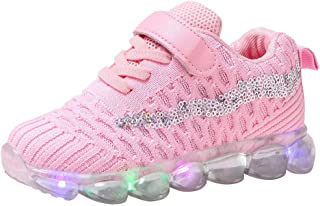 Sceoyche Kids LED Light Shoes, Baby Luminous Breathable Sequins Sport Shoes Ultralight Outdoor Shoes Velcro Walking Shoes Non-slip Indoor Sneakers Running Shoes for Girls Boys