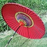 Parasol LMJN Rouge Terrasse Parapluie en Papier À Huile Rétro De Style Classique Protection UV Étanche (sans Base)
