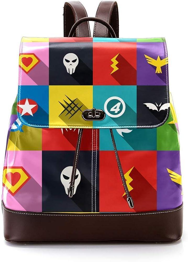 Super-Iterms PU Leather Backpack Fashion Shoulder Bag Rucksack Travel Bag for Women Girls