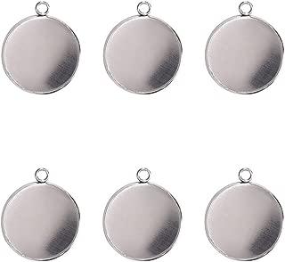 Stainless Steel Pendant Trays Pendant Blanks Round Bezel Blanks Pendants 16x16mm 50PCS