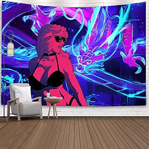 Rock Woman Tapiz Mural Tapiz Hippie Estilo Boho Estilo Boho Ropa De Cama Manta De Playa Yoga Alfombra De Meditación Cubierta De Cama Queen 200X150 Cm