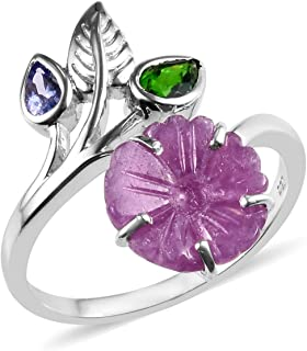 Promise Ring 925 Sterling Silver Platinum Plated Pink Sapphire Chrome Diopside Jewelry for Women Size 8