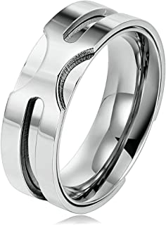 (Free Engraving)Stainless Steel Rings for Men and Women 8MM with 60cm Chain Size 6-12 Blue/Silver/Gold
