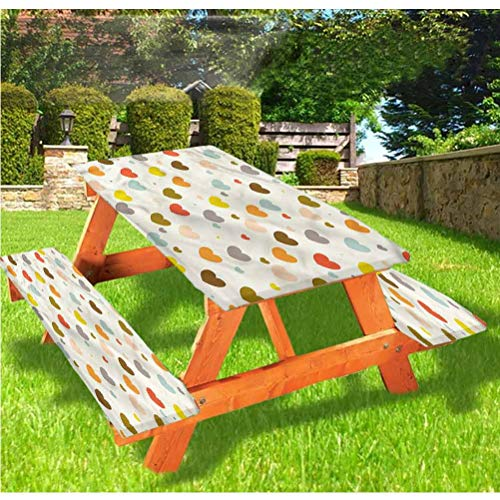 Kids Picnic Table and Bench Fitted Tablecloth Cover,Cute Hearts Playroom Theme Elastic Edge Fitted Tablecloth,28 x 72 Inch, 3-Piece Set for Camping, Dining, Outdoor, Park, Patio