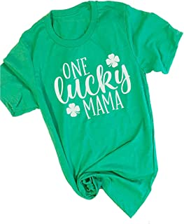 UNIQUEONE Women One Lucky Mama Letter Funny T-Shirt ST. Patrick's Day Mama Gift Shirt (XX-Large, Green)