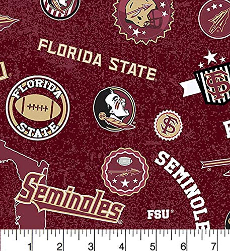 Florida State Cotton Fabric Home State Design-Newest Pattern-Sold by The Yard-SYKEL NCAA Cotton Fabric
