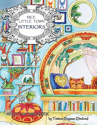 Nice Little Town Interiors Adult Coloring Book Stress Relieving Coloring Pages Coloring Book product image