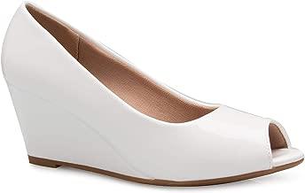 Olivia K Women's Adorable Low Peep Toe Wedge Heel Shoe - Comfortable, Adorable
