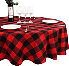 OurWarm Round Tablecloth, Christmas Tablecloth 70 x 70 Inches Checkered Red Buffalo Plaid Tablecloth for Christmas Table Decoration