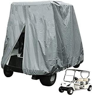 FLYMEI 4 Passenger Golf Cart Cover, Waterproof Golf Cart Cover for EZ GO Club Car Yamaha Golf Carts, Sunproof Dustproof 4 Seat Club Car Cover, Grey (Up to 112 Inch)
