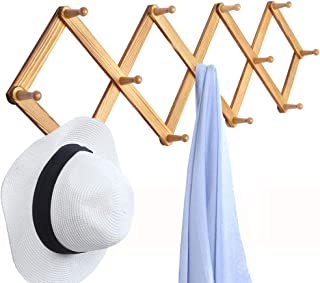 OROPY Wooden Expandable Coat Rack Hanger, Wall Mounted Accordion Pine Wood Hook for Hanging Hats, Caps, Mugs, Coats, Diamond Shap, 38.6