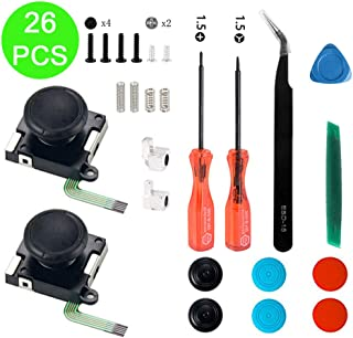Onyehn 2-Pack 3D Replacement Joystick Analog Thumbstick for Switch Joy-Con Controller - Include Tri-Wing, Cross Screwdriver, Pry Tools, Lock Buckle,Spring and Screws Kit(26in1)