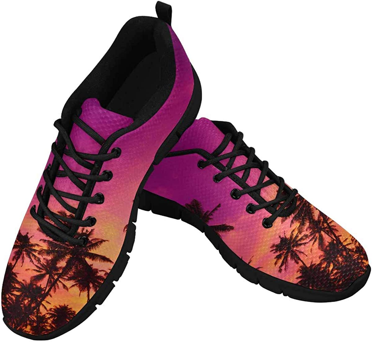 INTERESTPRINT Tropical Sunset Palm Tree Women's Running Shoes Mesh Breathable Sports Casual Shoes