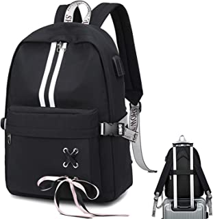 School Laptop Backpack USB College Backpack Casual Travel Daypack with Luggage Strap for Women Girls (Black-3)