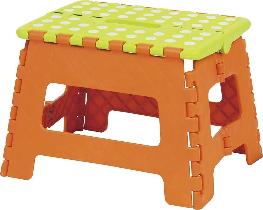 荷物容器透過性AZUMAYA クラスタースツール 折りたたみ式踏み台 Mサイズ オレンジ色 BLC-311OR