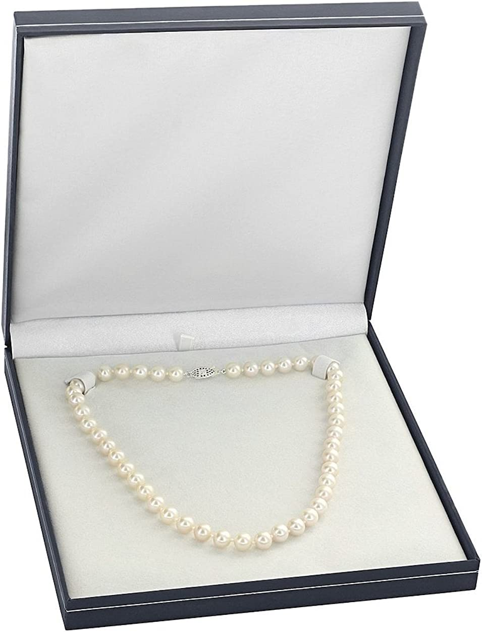 THE PEARL SOURCE 14K Gold 8-9mm AAAA Quality White Freshwater Cultured Pearl Necklace for Women in 16 Choker Length