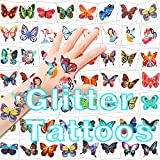 HOWAF Tattoo Kinder, 96 Glitzertattoos Mädchen Schmetterling Tattoo Set Kindertattoos Aufkleber...