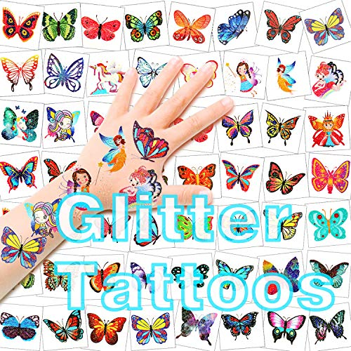 HOWAF Tattoo Kinder, 96 Glitzertattoos Mädchen Schmetterling Tattoo Set Kindertattoos Aufkleber für Jungen Mädchen Kinder Spielen Mitgebsel Kindergeburtstag Party