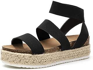 Platform Espadrille Sandals for Women Open Toe Stretch Ankle Strap Studded Shoes Summer Platform Sandals