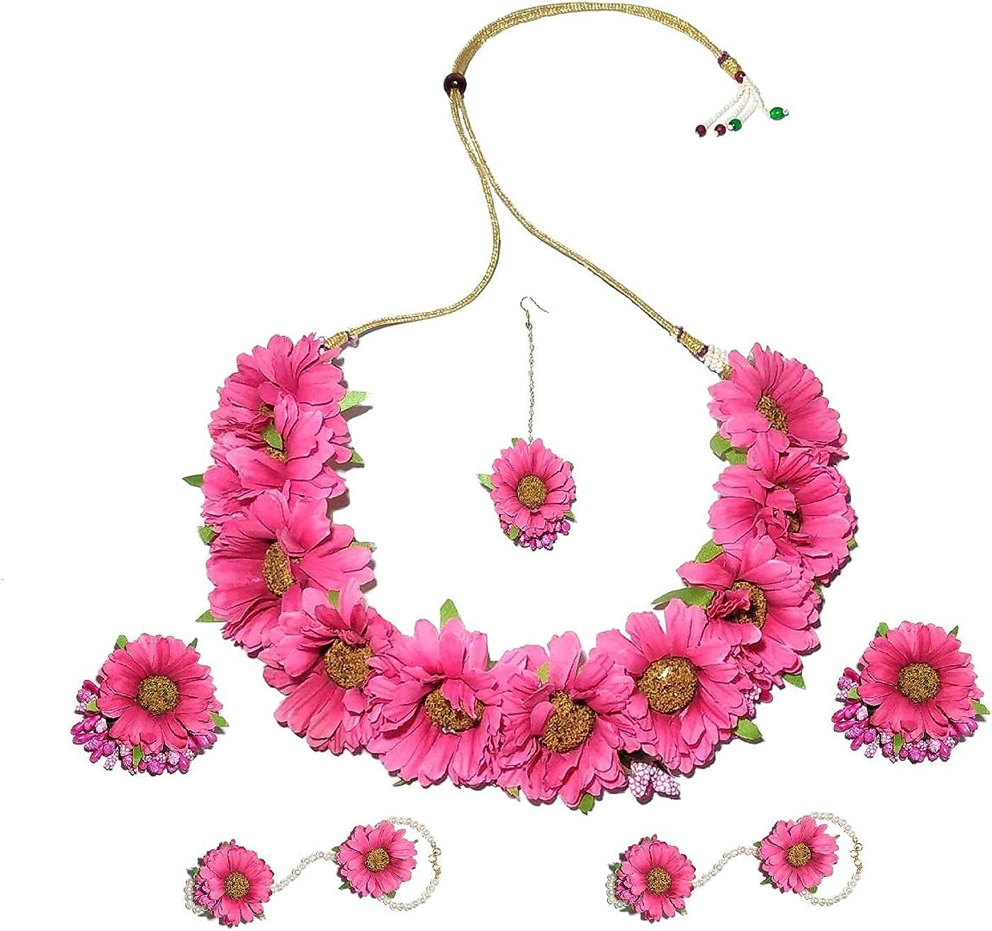 Pinoozclub Pink Fabric Flower Necklace/Earring/Maangtika /Hathfool Jewellery Set For Women/Girls