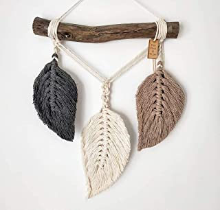 Macrame Feather Wall Hanging, Bedroom Decor, Home Decor, Wall Tapestry, Bohemian Wall Art, (Grey and Beige)