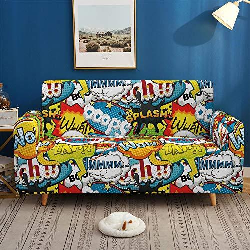 Copridivano Poliestere Elasticizzato Stile Hip-Hop Bracciolo Graffiti Copridivano Sofa Cover Antiscivolo Antivegetativa Soggiorno Dormitorio Fodera per Divano Elastico (C,3 Posti 190-230 cm)