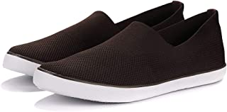 Men's Canvas Flats Casual Walking Shoes Lightweight Air-Permeable Mesh Flying Weaving Leisure Shoes