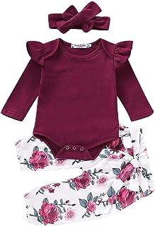 WangsCanis Neugeborene 3 Stück Babykleidung Set Baby Mädchen Kleidung Body Strampler Rüschen Bodysuit Blume Hosen Stirnband Kleinkinder Outfits Set
