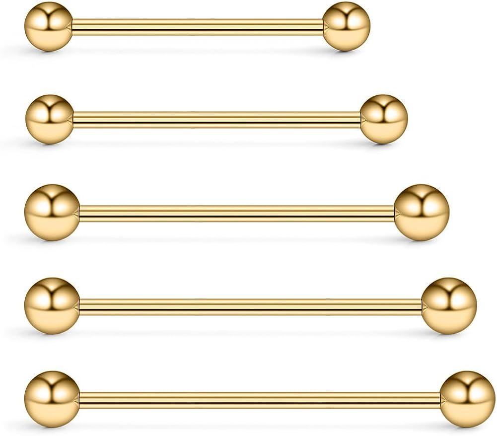 Ruifan 5PCS 14 Gauge Mix Sizes Industrial Barbell Cartilage Earring Body Piercing Jewelry 28mm 32mm 35mm 38mm 40mm