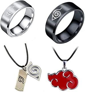 Imcneal 4Pack Naruto Rings Stainless Steel Classic Men Boy Cosplay Gold Black Ring with Necklace