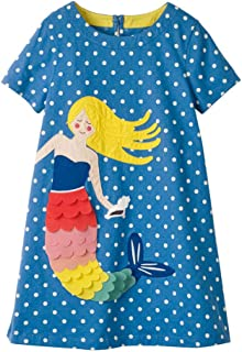 Little Girls Short Sleeve Dress Casual Cute Animal Print Dress Outfit for 1-7 Year (4T 3~4Years, Mermaid)