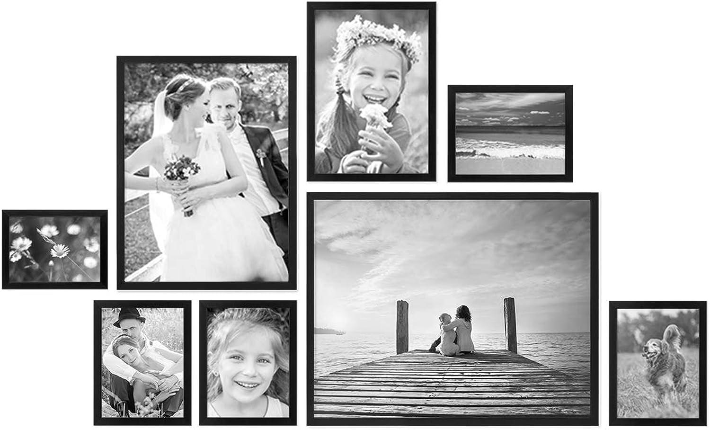 PHOTOLINI 8er Bilderrahmen-Set Modern Schwarz aus MDF 13x18 bis 40x50 cm Bildergalerie Bilderwand