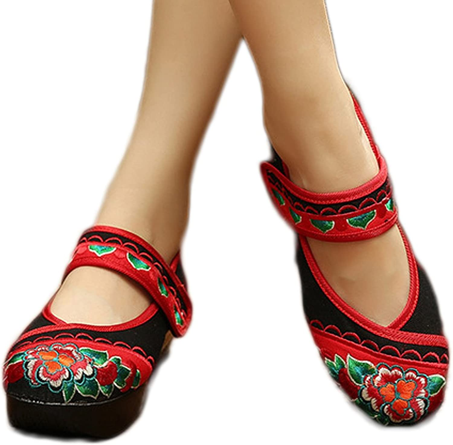 AvaCostume Womens Flower Embroidery Ultralight Platform Mary Jane shoes