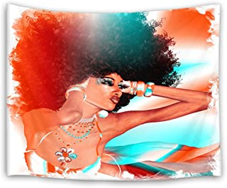 HVEST African Woman Tapestry Black Sexy Beauty with Afro Hairstyle Wall Hanging Hippie Tapestries for Bedroom Living Room Dorm Party Wall Decor,60Wx40H inches