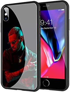 GUOZHAO Phone Case iPhone XR,GZA-88 Chris Brown Tempered Glass Back Black Cover and Soft Silicone Rubber Bumper Frame for Scratch-Resistant and Anti-Scratch Absorption