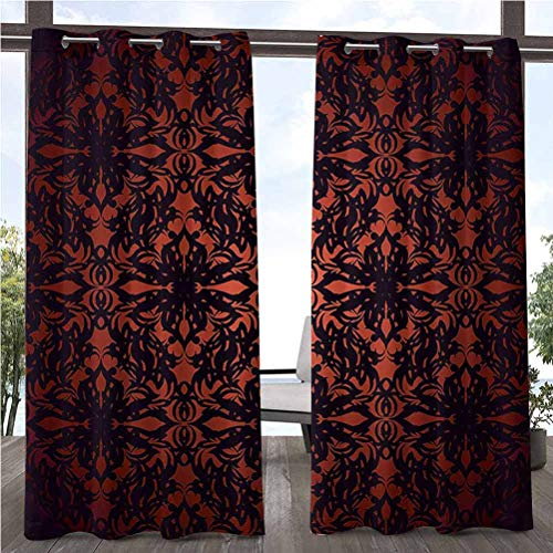 ParadiseDecor 108' W by 84' L(K274cm x G213cm) Victorian Pergola Outdoor Curtain Panel for Pergola/Sunroom Medieval Ancient Flowers with Leaves Ombre Design Image Artwork Print