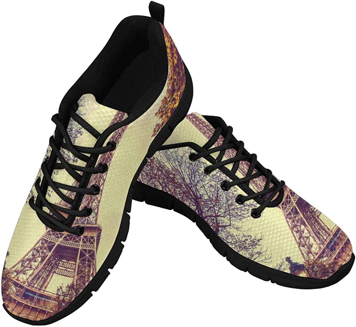 INTERESTPRINT France Eiffel Tower Autumn Women's Athletic Walking Shoes Comfort Mesh Non Slip