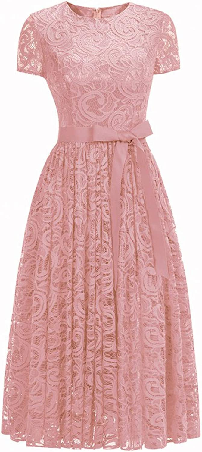 Sexy Elegant Pink Lace Short Evening Dress Cap Sleeve A line Evening Gown Party Dress