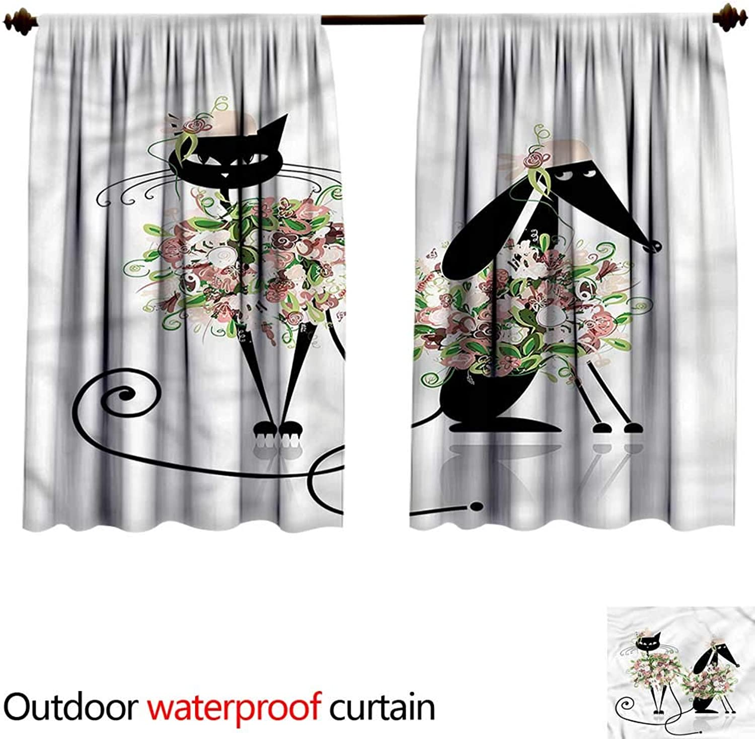 BlountDecor UPF Outdoor curtainAntiWater W55 x L45(140cm x 128cm) Animals,Cat and Dog Floral Clothes