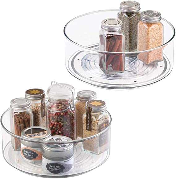 mDesign Plastic Lazy Susan Spinning Food Storage Turntable for Cabinet