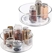 """mDesign Plastic Lazy Susan Spinning Food Storage Turntable for Cabinet, Pantry, Refrigerator, Countertop - Spinning Organizer for Spices, Condiments, Baking Supplies - 9"""" Round, 2 Pack - Clear"""