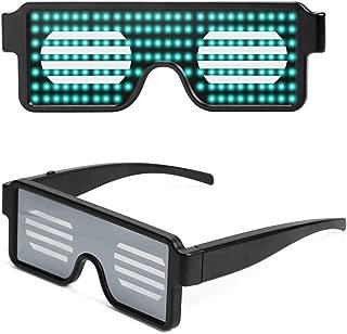 MeOkey Gafas LED Luminosas de Neón Iluminar Gafas Lentes de Luz Intermitente de Brillante Recargables con 8 Modos de Bricolaje para Fiestas Halloween Discoteca Navidad DJ Carga USB Rosa