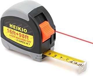 Laser Tape Measure 2-in-1 by HEIKIO, 98FT/30M Laser Distance Meter, 16FT/5M Normal Measurement Tape, Quality LCD Display - Metric and Inch Measuring Tape