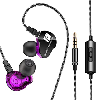 shiYsRL In Ear Earphone Dual Moving Coil Heavy Bass Stereo Music Earphone Headset Earbud With Mic One Size Purple